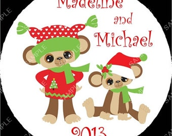 Brother Sister Sibling Monkey Christmas Ornament Personalized for you Snowflake or Disc Christmas Holiday Ornament