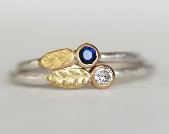 Ready to Ship in Blue Sapphire in Size 5.5 - Leaf Birthstone Ring-  18k Gold and Sterling Stacking Ring