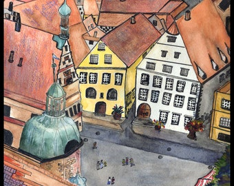 ROTHENBERG GERMANY Award-Winning Painting of Walled City Town Square Europe European Stretched Canvas Giclee Print Archival Paper Ink