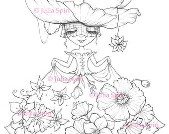 Coloring Pages, Digital stamp, Digi, Girl, Flowers, Fantasy, Whimsical, Crafting, Cardmaking.  The Fantasy Dress Serie. The Flower Dress