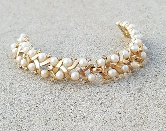 Vintage Crown Trifari Faux Pearl Crystal Rhinestone Gold Plated Tennis Swirl Woven Wide Tennis Bracelet
