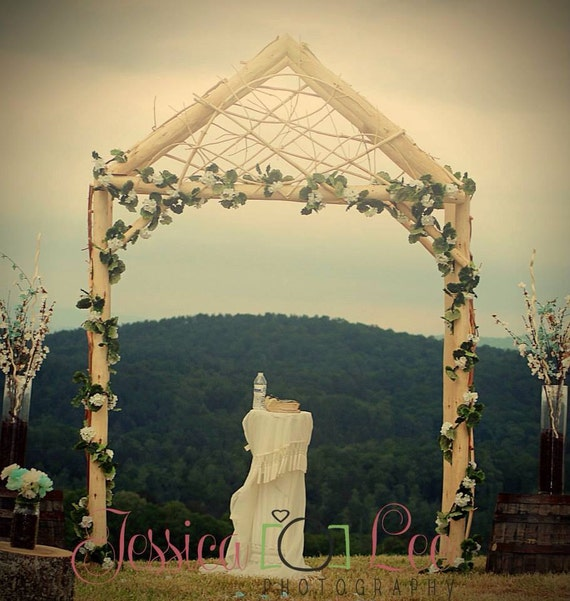 Rustic wedding arch arbor log wood tree slice cabin decor junglespirit Gallery