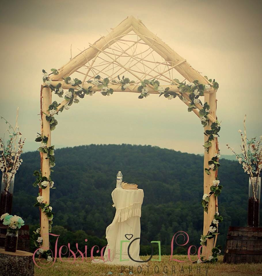 Rustic Wedding Arch Arbor Log Wood Tree Slice Cabin Decor