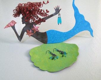 Metal Mermaid Art Sculpture Jewelry Tray Recycled Metal Red Head Aqua Blue Lime Green Jewelry Holder bathroom Vanity Art