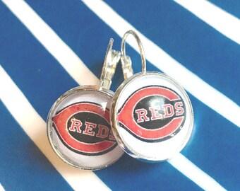 Cincinnati Reds cabochon earrings- 16mm