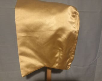 ADULT Ivory/Gold BONNET Heavy Satin Pioneer Pilgrim Colonial Lined Special Occasion Hat