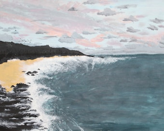 Painting of the beach - waves - rocks