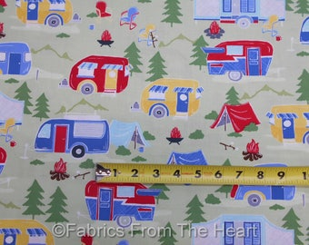 Camping Travel Trailers Retro on Green  BY YARDS Timeless Treasure Cotton Fabric