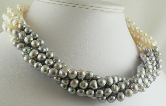 """Freshwater 6.5mm - 7mm Gray & White Pearl Choker Necklace Silver Lock 18 1/2"""""""
