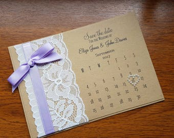 "Handmade rustic lace, Calendar style, Wedding ""Save the date"", any colour ribbon"
