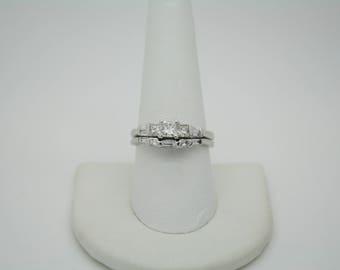 14k White Gold Diamond Wedding Set 1.25 Carats Total BEAUTIFUL QUALITY GIA Cert