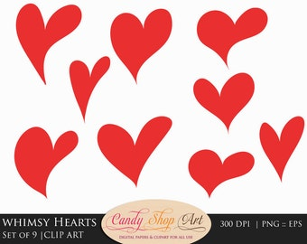 Whimsy Hearts Clipart - Hand Drawn Hearts Clip Art - Heart Clip Art - Hearts Clipart - PNG and EPS - Instant Download