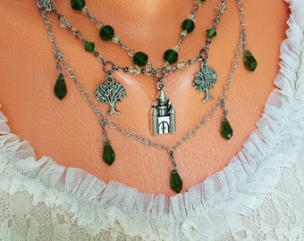 Castle in the Forest Necklace, layered forest necklace, Enchanting necklace with green Swarovski crystal beads and silver charms