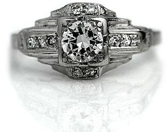 "Antique Diamond Ring Vintage 1930's Old European Cut Diamond Engagement Wedding Anniversary Ring Platinum ""The Donna"""