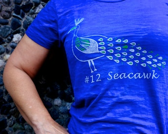 Women's Seacawk Peacock 12th Fan Burnout Tee