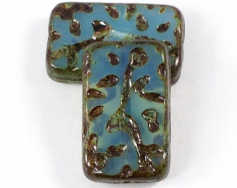 Czech Glass Beads - Groovy Rectangle Beads - Table Cut Beads - Aqua Blue Opaline with Picasso Beads - 19x12mm Beads - 10 Beads