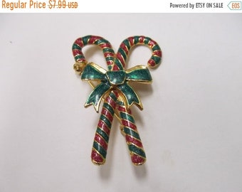 On Sale Vintage Enameled Double Candy Cane Pin Item K # 1761