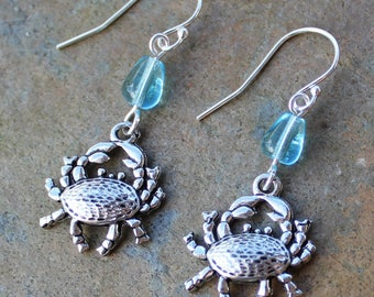 Happy Crab Earrings - pewter crustacean charms,  aqua glass water drop beads, sterling silver hooks - ocean, beach -Free Shipping USA