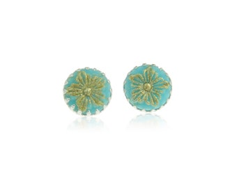 Blue and gold stud earrings