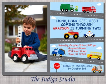 Cars and Trucks  Birthday Party Invitation Option with No photo - All ages see other verse options in description -invitation you Print