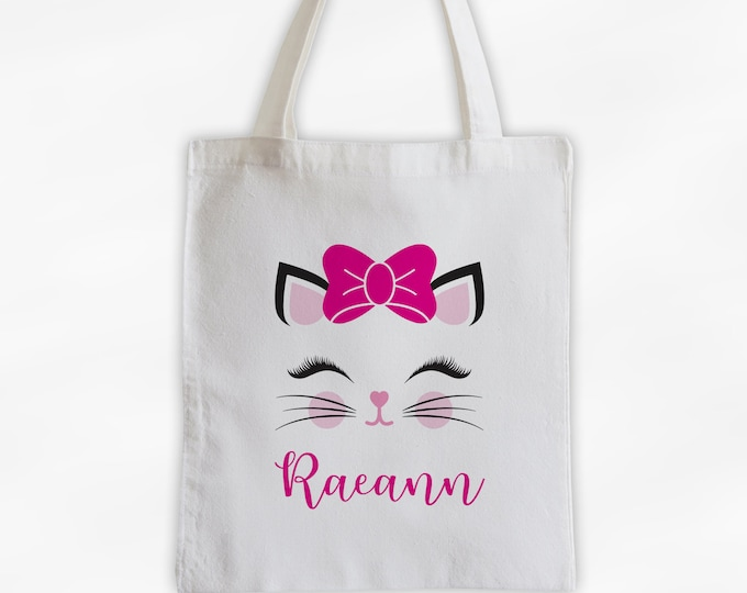 Featured listing image: Kitty with Bow Personalized Canvas Tote Bag - Cute Animal Custom Travel Overnight Bag - Reusable Tote with Cat Face
