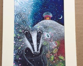Yule Badger print mounted at A4