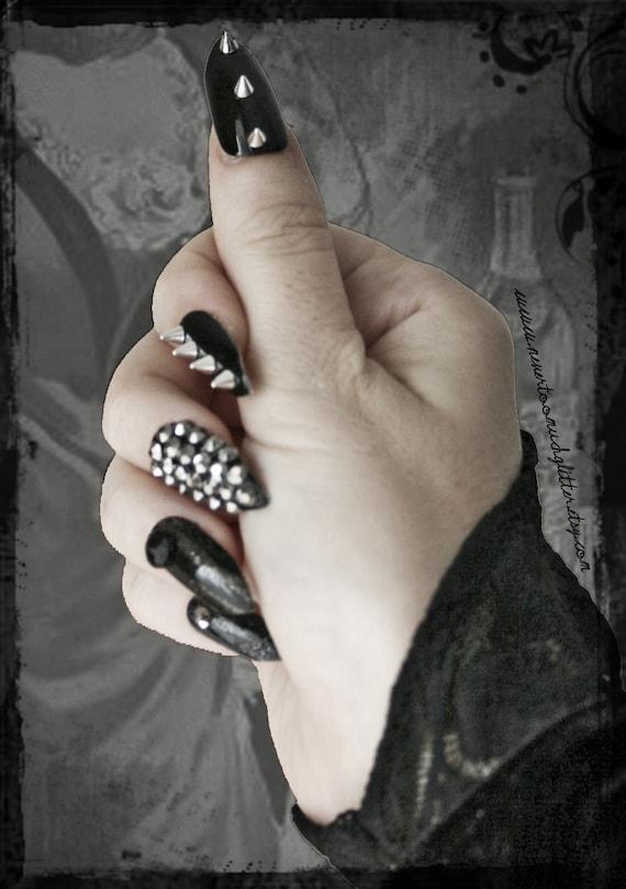 Deviant   Press On Stiletto Spiked Fake Nails   Gothic Fake Nails ...