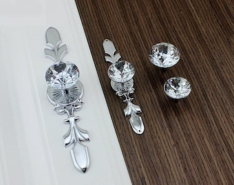 Drawer Knobs Pulls Handles Rhinestone Silver Chrome Clear Dresser Knobs Glass Kitchen Cabinet Knobs Door Knobs Furniture Bling Back Plate
