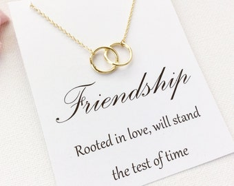 Entwined circles Necklace, best friend necklace, best friends, friendship jewelry, Gift for friend, Birthday gift, Gift Idea, christmas gift
