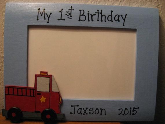 Fire truck birthday frame boy My first birthday personalized custom ...