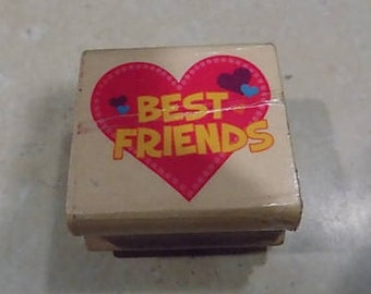 Best Friends with Hearts Rubber Stamp, Scrapbooking,Card Marking