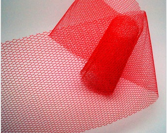 1 meter of fabric in red tulle - 8cm