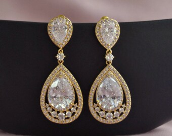 Gold bridal earrings, gold crystal drop earrings, crystal wedding earrings, gold bridal jewelry