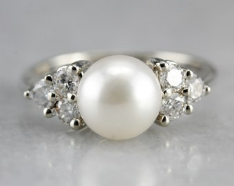 Pearl Diamond Statement Ring, Anniversary Ring, Bridal Jewelry, June Birthstone EYN0698C