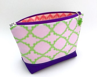 Lavender Green Crest Geometric Large Zipper Pouch, Recycled Make Up Bag, Diaper Bag Organizer, Cosmetics Bag, Glass Bead, Gift For Her