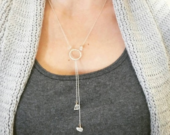 Sterling Silver and Crystal Quartz Unique Y Necklace. Boho chic. Long. Layered. Wire wrapped. Southwestern. Stone. Tumbled quartz. Gift.