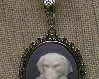 Beautiful Dog  Cameo on Grey Background