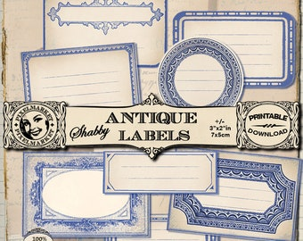 Blank Label Cliparts Set of 8 blue shabby Name tags Printable Download for Scrapbooking Kitchen Organization Spices Labels 273