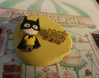 Boy Super Hero Batman + Pow Flexible Silicone Mold