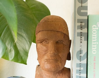 One of a Kind Vintage Hand Carved Wooden Bust