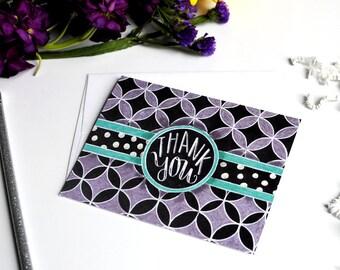 Thank You Card  Chalkboard Thank You Card  Chalk Art  Lattice  Polka Dot  Purple  Chalk Card  Thank You  Chalkboard Art  Chalkboard Card