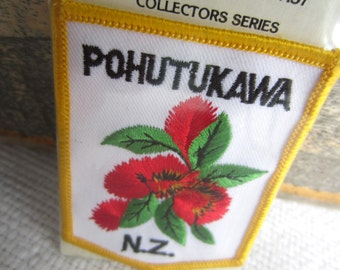 Vintage Pohutukawa New Zealand Iron On Patch Embroidered Emblem Crossfords