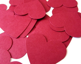 "Set of 40 - 1 1/2"" inches wide - RED - Medium Hearts - Hand Punched Blank Cardstock - Die Cut Gift Hang Tags"