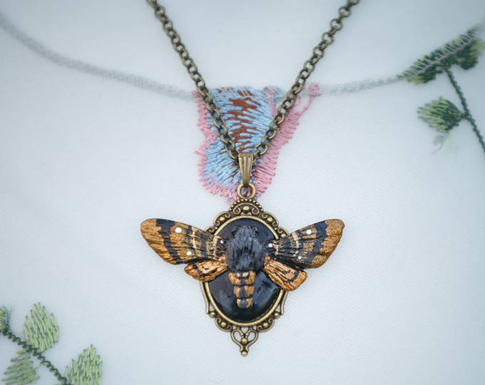 Moth necklace with frame in bronze