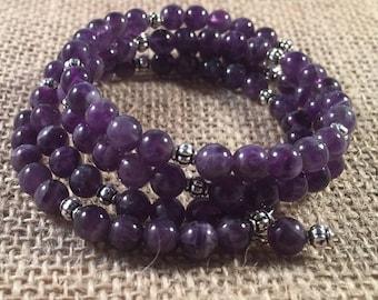 Purple Memory Wire Beaded Bracelet, Memory Wire, Boho Bracelet