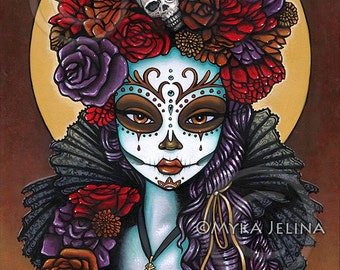 Dalia Dia De Muertos Calaca Flowers Signed Print Festival Mictecacihuatl Sugar Skull