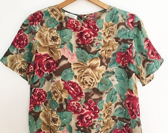 Vintage - Silk - Floral - Cropped Blouse - Size Small