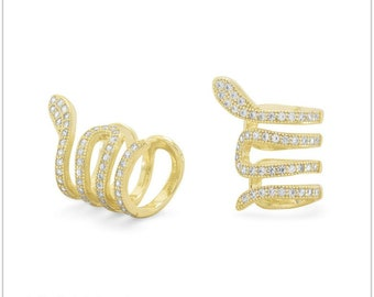 14 Karat Gold Plated Snake Ear Cuffs with Signity CZs - Ear Cuff - Ear Cuffs - Sterling Ear Cuffs - 14 Karat Ear Cuffs