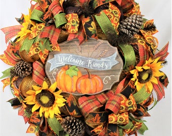 Sunflower Wreath, Fall Welcome Wreath, Large Fall Wreath, Fall Sunflower Wreath, Fall Deco Mesh Wreath, Fall Decor, Rustic Fall Wreath