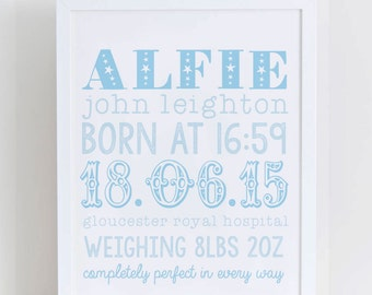 Personalised Baby Birth Print